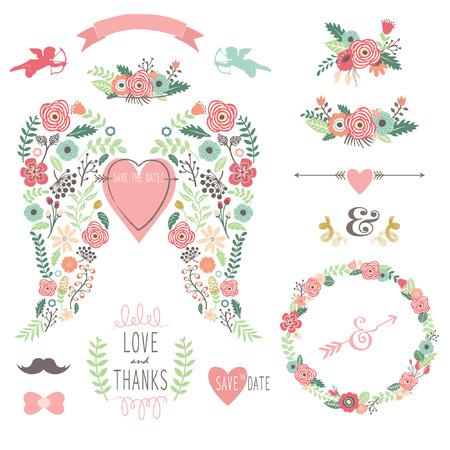 vintage: Hochzeits-Engels-Flügel-Weinlese-Blumen-Kranz-