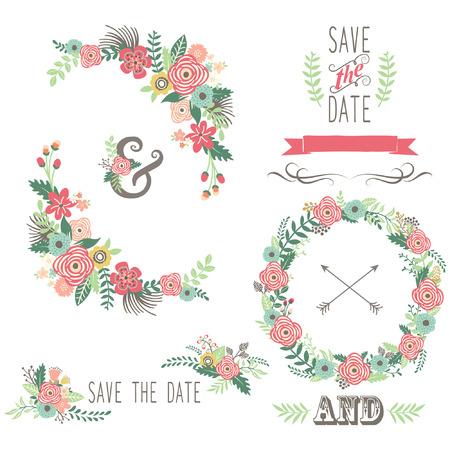 ビンテージ: 結婚式の花のヴィンテージの要素