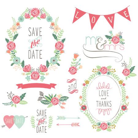 結婚式のバラの花輪の要素  イラスト・ベクター素材