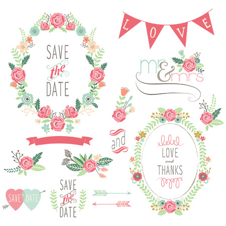 Wedding Rose Wreath Elements Banco de Imagens - 43688211