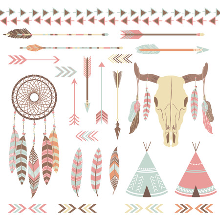 indio americano: Elementos tribales indios Vectores