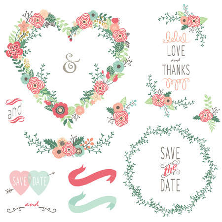 Vintage Heart Shape Wreath Elements Stock Vector - 44525806