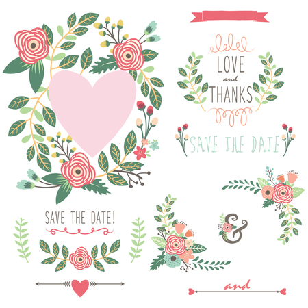 wedding invitation card: Vintage Wreath Elements Illustration