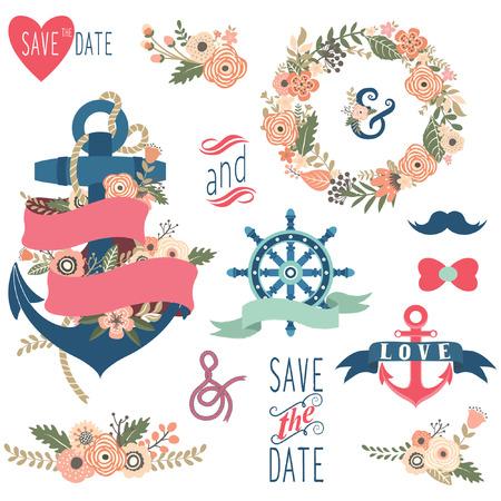 Colecciones náuticas florales de la boda Foto de archivo - 44870849