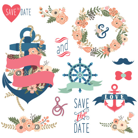 wedding clipart: Nautical Floral Wedding Collections