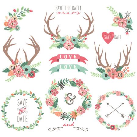 Bruiloft Bloemen Antlers Stock Illustratie
