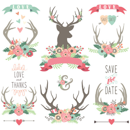vector clip art: Wedding Floral Antlers Collections