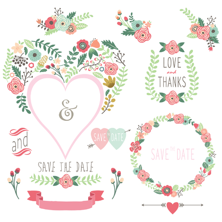 formal garden: Floral Heart Shape Invitation Illustration
