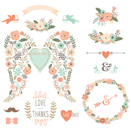 flower clip art: Vintage Angel Wing Vintage Flowers Wreath