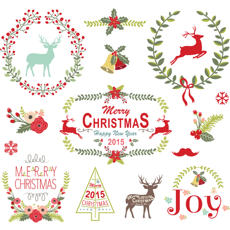 vectors: Christmas Wreath Frame Collection