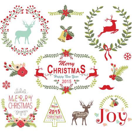 Corona de Navidad Frame Collection Foto de archivo - 44871385