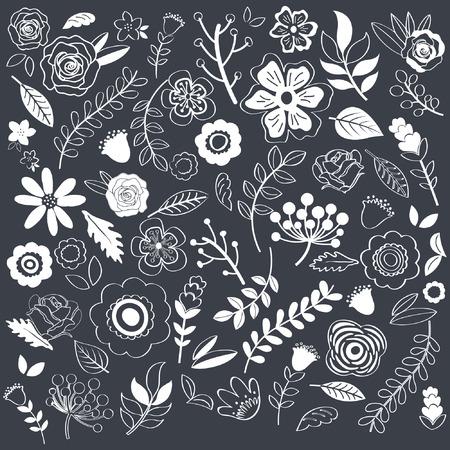 single flowers: Chalkboard Hand Drawn single Flowers