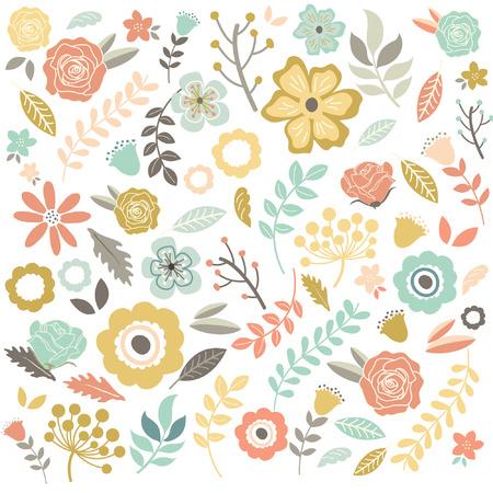 Vintage Hand Drawn Flowers Background
