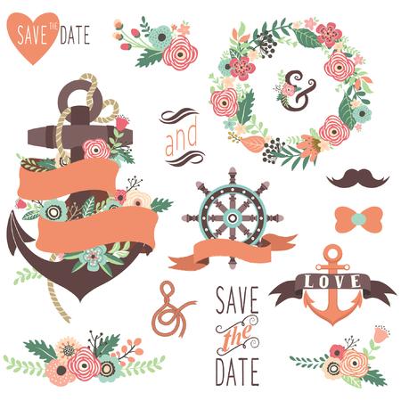 wedding  art: Nautical Floral Wedding Elements