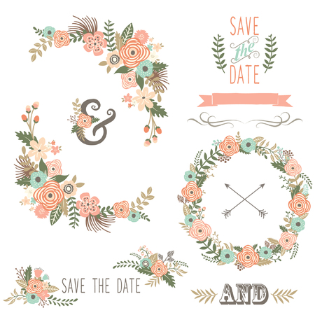 Retro Floral Elements Stock Illustratie