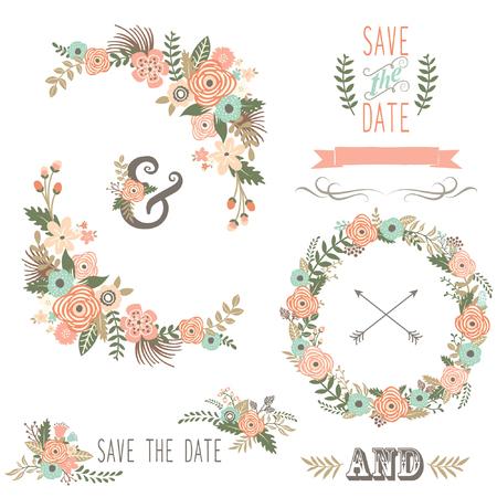 Retro Floral Elements Illustration