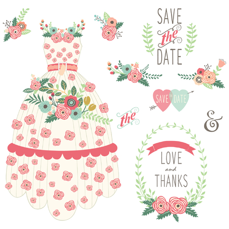 wedding card design: Bride Floral Wedding Dress Set