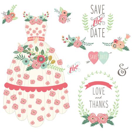 Bride Floral Wedding Dress Set