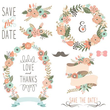 素朴な結婚式の花の花輪  イラスト・ベクター素材