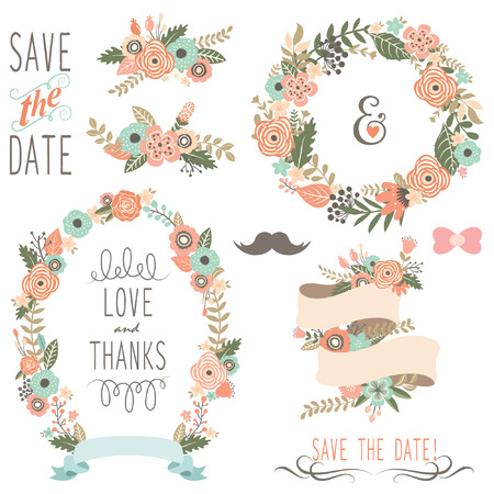 Rustic Wedding Flowers Wreath Illustration