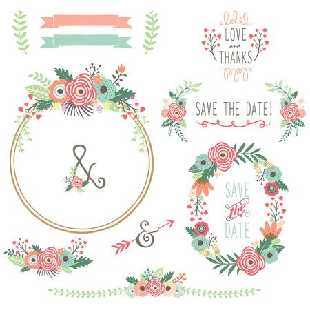 結婚式: ビンテージ花の花輪