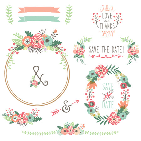 wedding invitation card: Vintage Flower Wreath Illustration