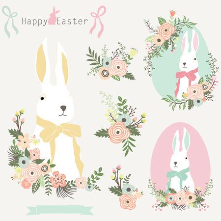 꽃 부활절 토끼