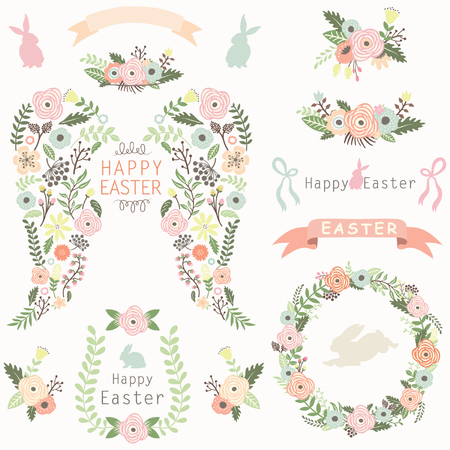 animal silhouette: Floral Angel Wing Easter Elements
