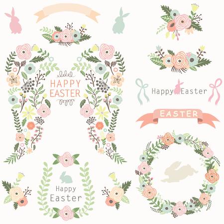 silhouette fleur: Éléments de Pâques Ange Floral Wing