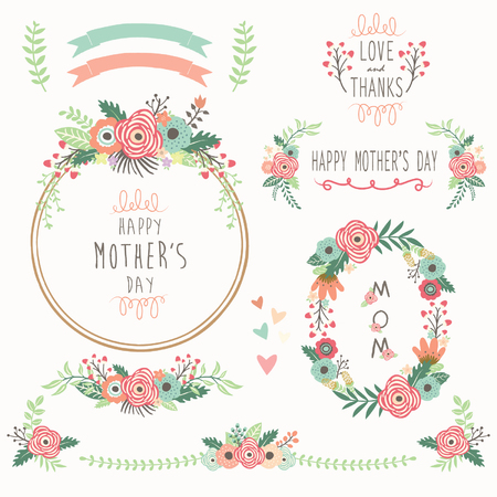 Floral Mother's Day Elements Stock Illustratie