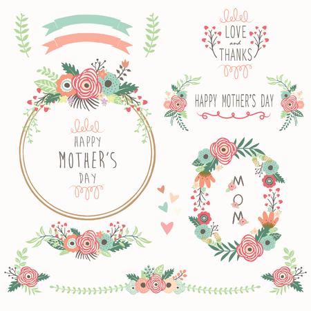 Elementi festa della mamma Floral Vettoriali