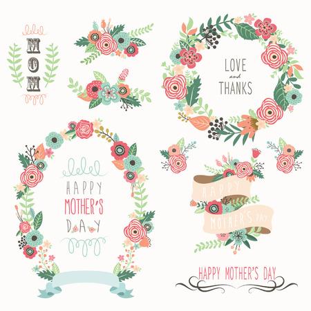 幸せな母の日の要素  イラスト・ベクター素材