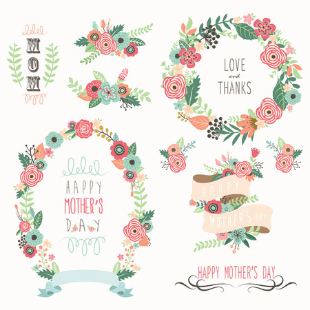 Happy Mother's Day Elements Vettoriali