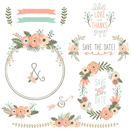 Rustic Wedding Flower Wreath Stock Illustratie
