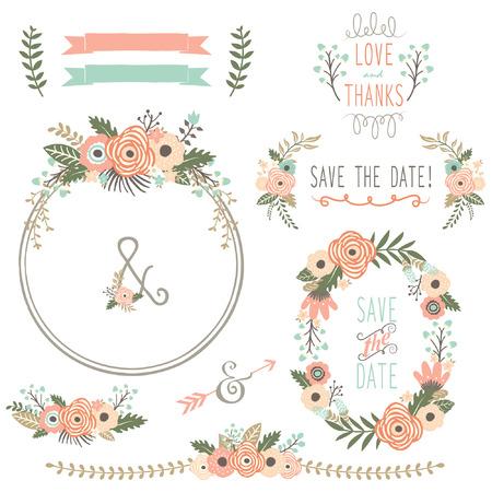Rustic Wedding Flower Wreath Illustration
