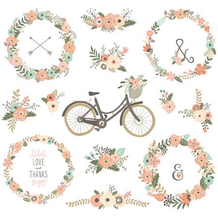 Vélos Fleur Vintage Vecteurs