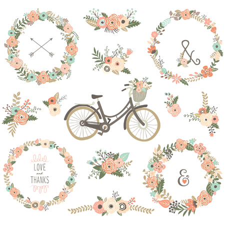 Vintage Blumen-Fahrräder Vektorgrafik