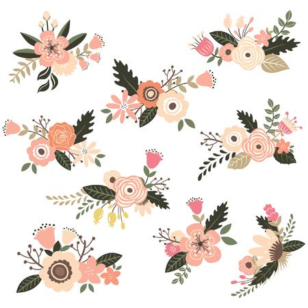 formal garden: Vintage Floral Bouquet Set