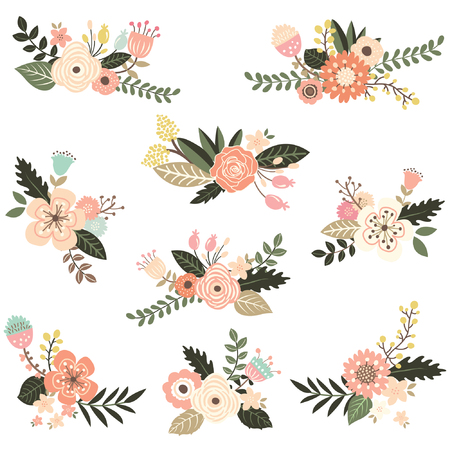 formal garden: Floral Bouquet Collection Illustration