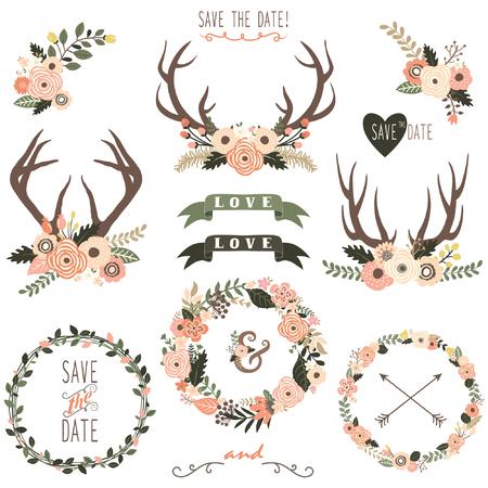 Retro Floral Antlers Collection Ilustração