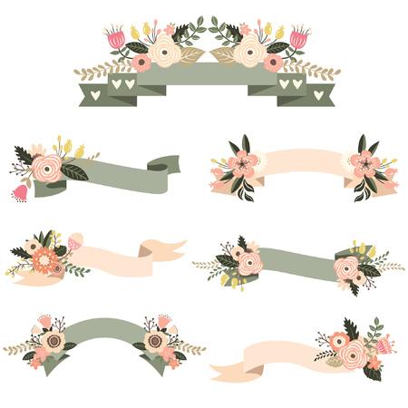 wedding  art: Wedding Floral Banners Set