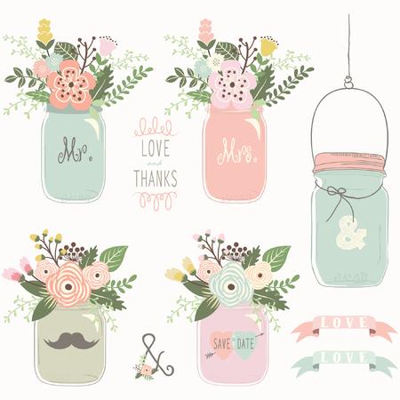 Vintage Floral Mason Jar Vettoriali