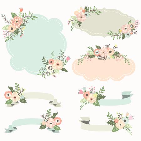 Elementos rústicos marco floral Ilustración de vector