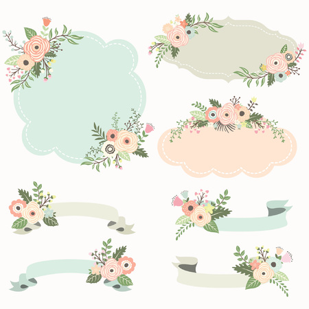 Rustic Floral Frame Elements