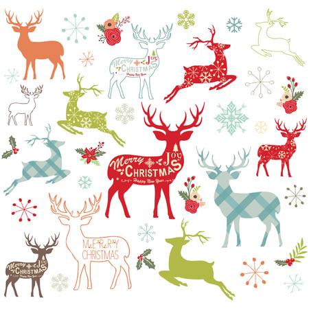Christmas Reindeer Design Elements Ilustração