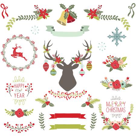 Vintage Christmas Elements Illustration