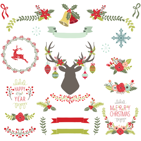 Vintage Christmas Elements Illustration