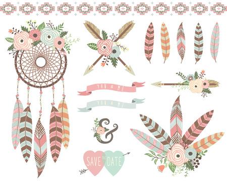 Floral Tribal Dreamcatcher Elements Ilustracja
