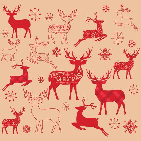 Vintage Christmas Reindeer Design Elements