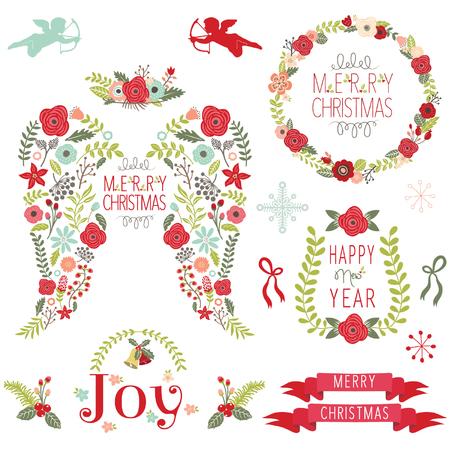 Floral Angel Wing Christmas Elements Ilustração